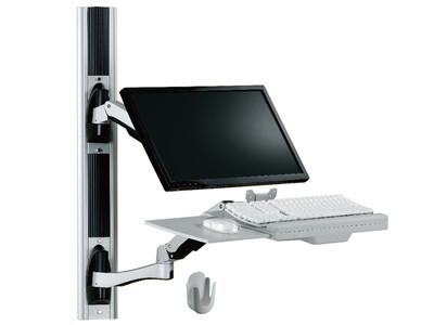 TOPSKYS W8812医疗工作台架壁挂式LCD键盘托支架单臂旋转伸缩电脑液晶显示器支架