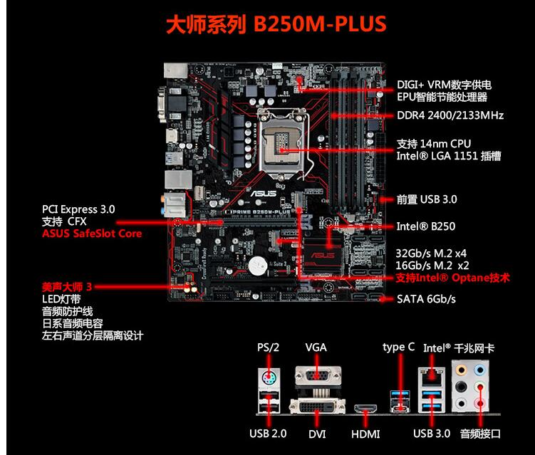 郑州华硕主板专卖华硕b250m-plus m-atx版型黑红配色主板上7代