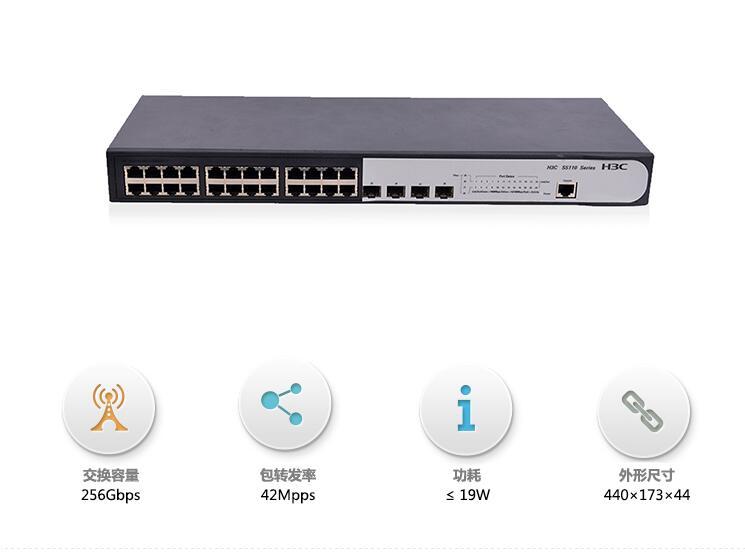 华三(h3c)s5110-28p-si 全千兆以太网 交换机